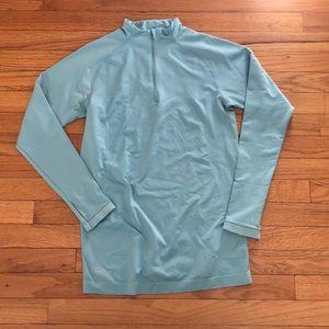 Blue Nike Quarter Zip Workout Long Sleeve Top